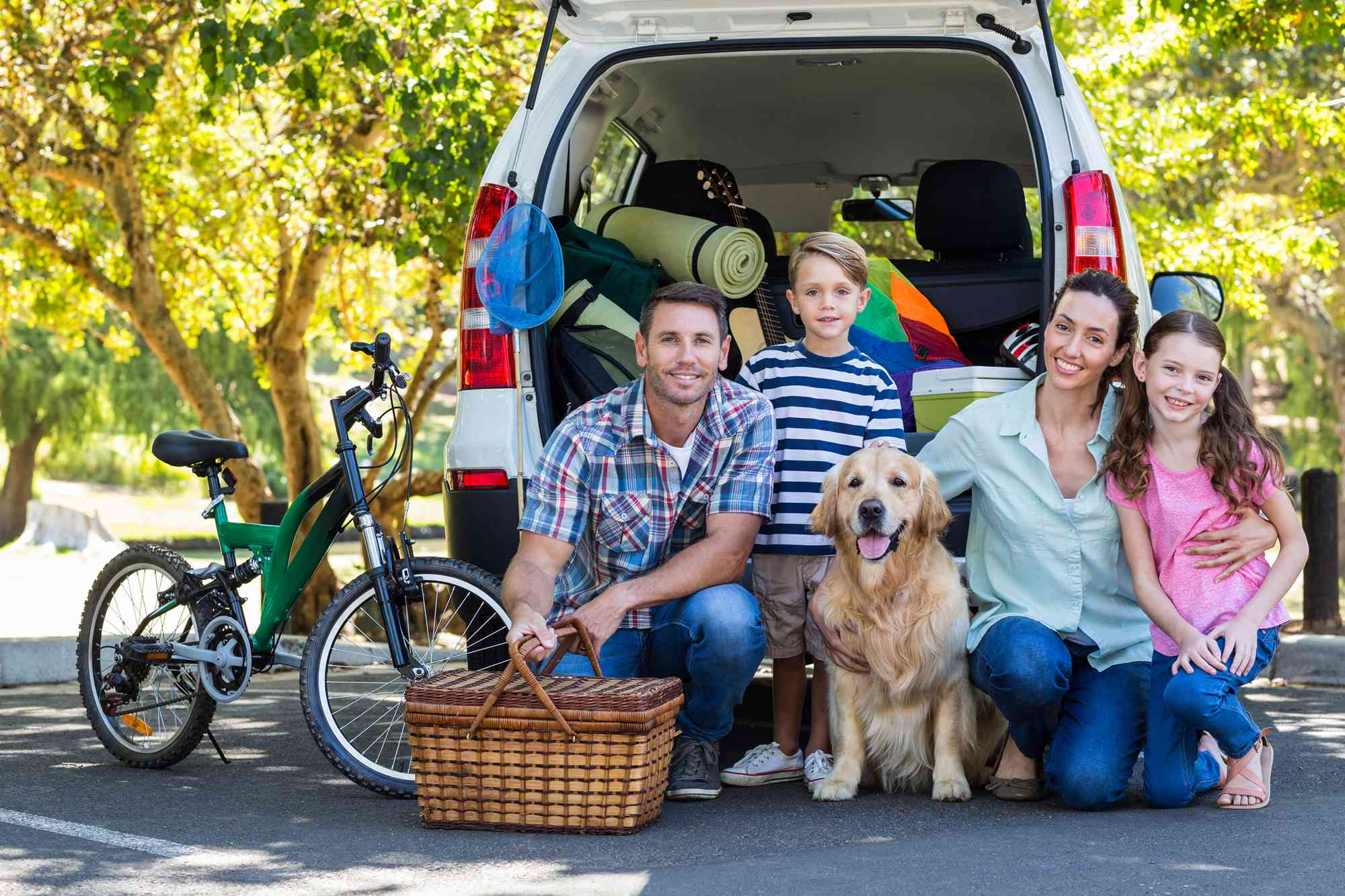 Image   caucasian family smiling together in front of vehicle