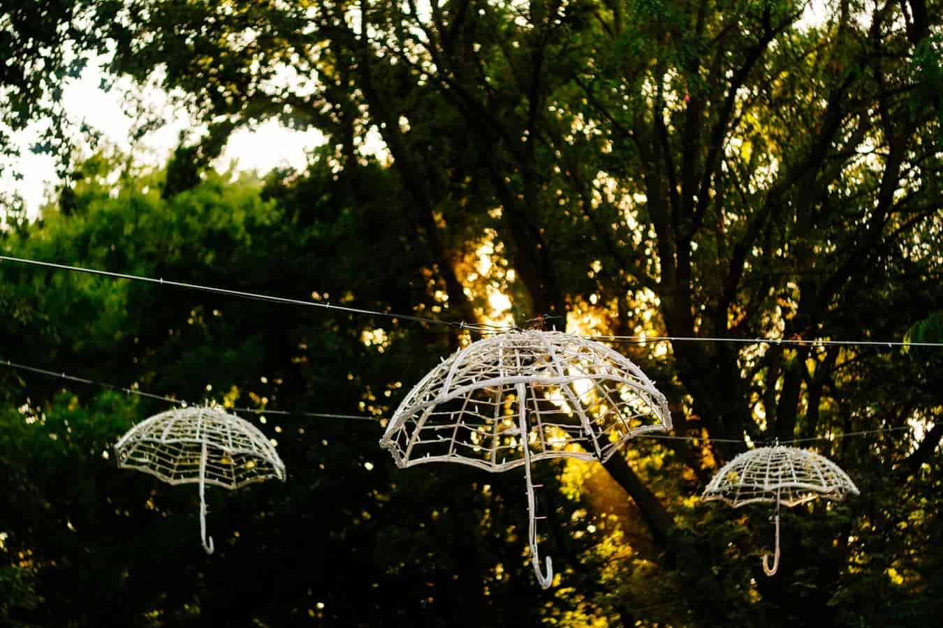 Image | 3 lighted wicker umbrellas hanging from trees